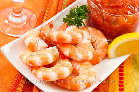Festive Shrimp Cocktail Plate | Stock Photo