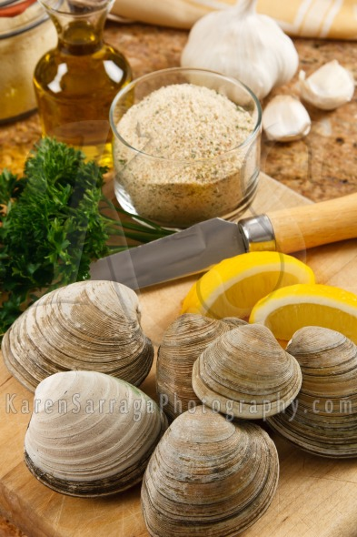 Fresh Littleneck Clams In The Kitchen | Stock Photo