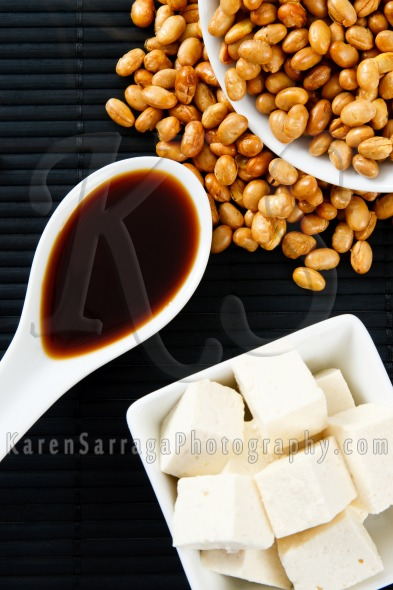 Soybeans And Soy Sauce With Tofu | Stock Photo
