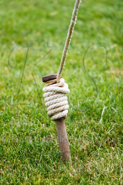 Close Up of Tent Peg Wrapped With Rope | Stock Photo & Close Up of Tent Peg Wrapped With Rope - Karen Sarraga Photography