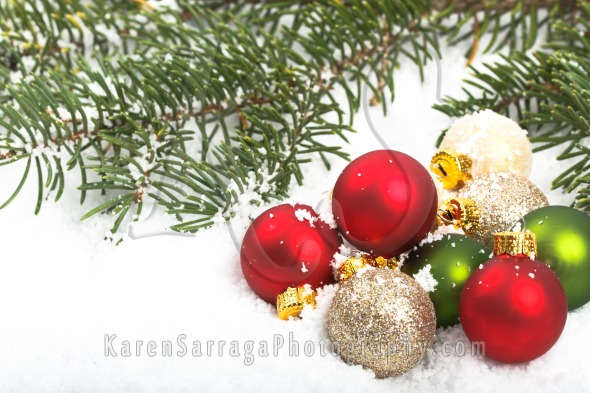 christmas ornaments in the snow karen sarraga photography. Black Bedroom Furniture Sets. Home Design Ideas
