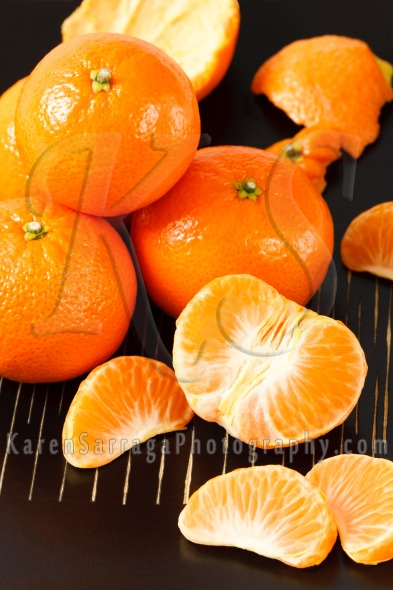 Mandarin Oranges on Black Background | Stock Photo