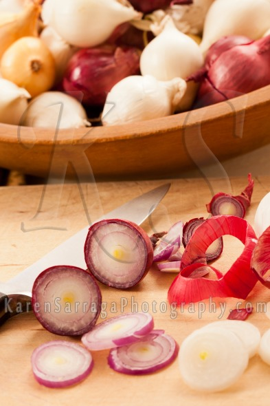 Close Up Of Sliced Red Pearl Onions | Stock Photo