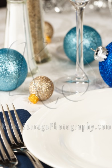 Festive Blue And Gold Holiday Restaurant Table | Stock Photo