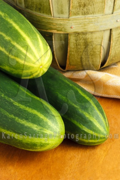 Close Up Of Three Homegrown Cucumbers | Stock Photo