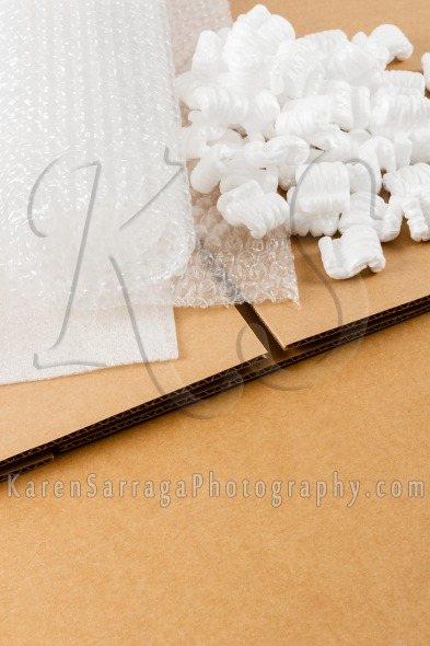 Brown Shipping Box With Packaging Supplies | Stock Photo