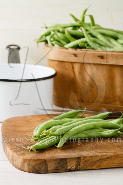 Homegrown Green Beans On A Cutting Board | Stock Photo