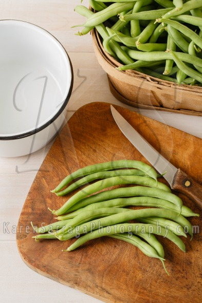 Preparing Fresh Homegrown Green Beans – Overhead View | Stock Photo