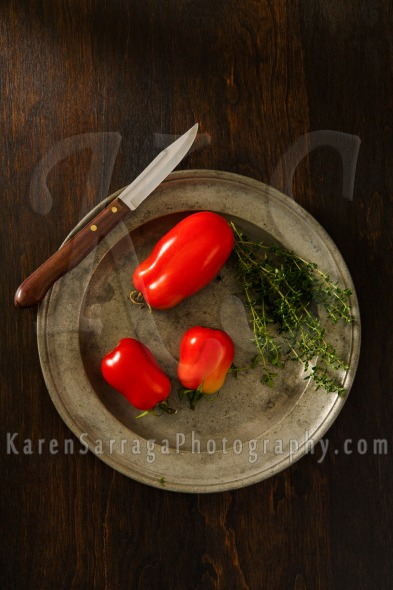 Homegrown Plum Tomatoes With Thyme | Stock Photo