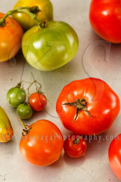 Red And Green Homegrown Tomatoes | Stock Photo