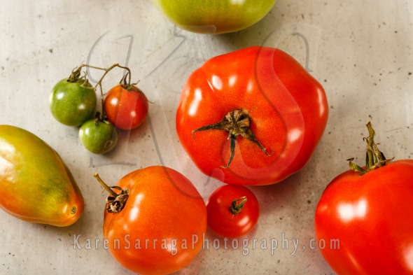 Close Up Of Red And Green Tomatoes   Stock Photo