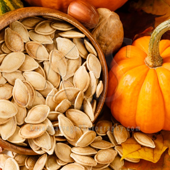 Close Up Of Toasted, Salted Pumpkin Seeds | Stock Photo