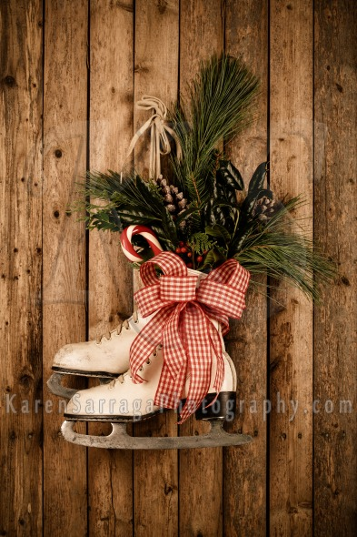 christmas decoration with vintage ice skates stock photo