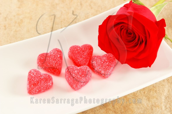 Romantic Rose With Candy Hearts | Stock Photo