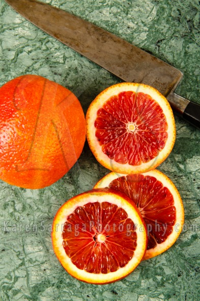 Sliced Blood Oranges Overhead View | Stock Photo