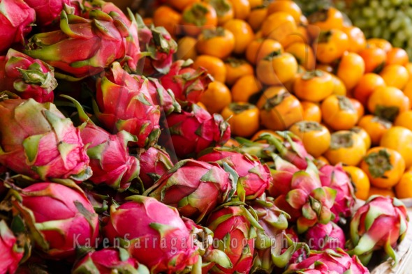 Dragon Fruit and Persimmons | Stock Photo